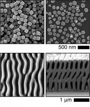 Text Box:  Top: Silverbromoiodide nanocrystals synthesized by colloidal nucleation & growth. Bottom: 3D nanostructured Se–Te films grown by electrochemical photopatterning