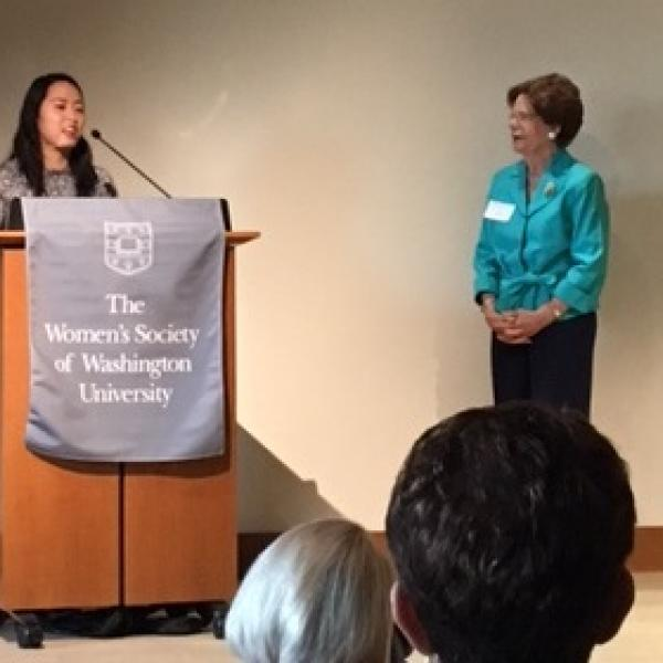 Connie Gan, Chemistry Residential Peer Mentor, recognized with Harriet K. Switzer Leadership Award