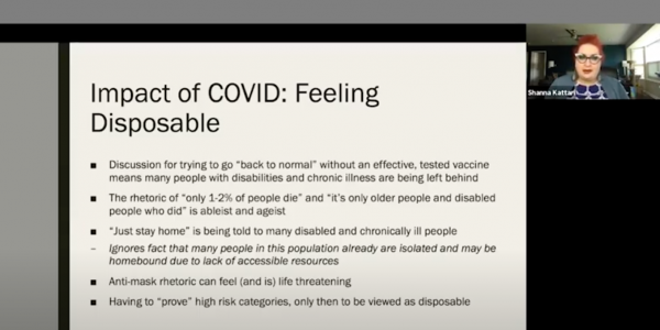 a slide from Shanna Kattari's presentation on the impact of COVID